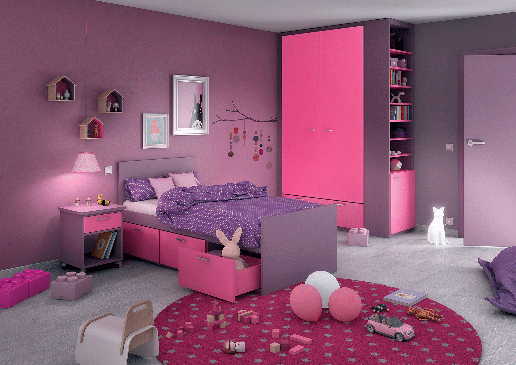 chambre petite fille princesse. Black Bedroom Furniture Sets. Home Design Ideas